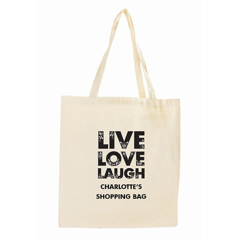 Personalised Live Laugh Love Cotton Tote Bag