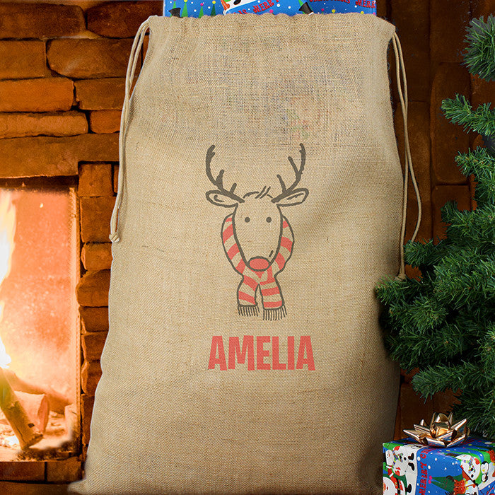 Personalised Christmas Sack - Hessian - Retro Reindeer - Personalised Gift Solutions - 1