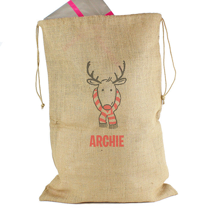 Personalised Christmas Sack - Hessian - Retro Reindeer - Personalised Gift Solutions - 3