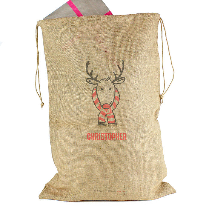 Personalised Christmas Sack - Hessian - Retro Reindeer - Personalised Gift Solutions - 4