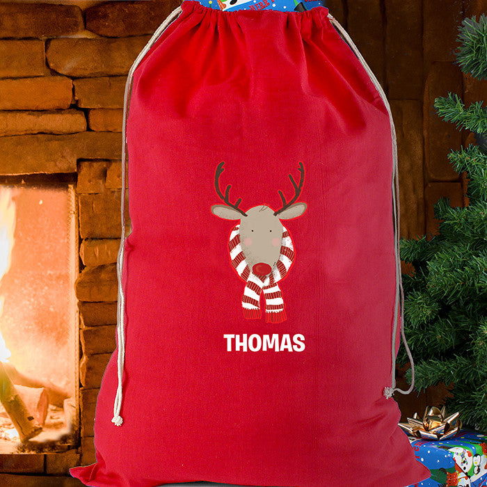 Personalised Christmas Sack - Red Cotton - Retro Reindeer - Personalised Gift Solutions - 1