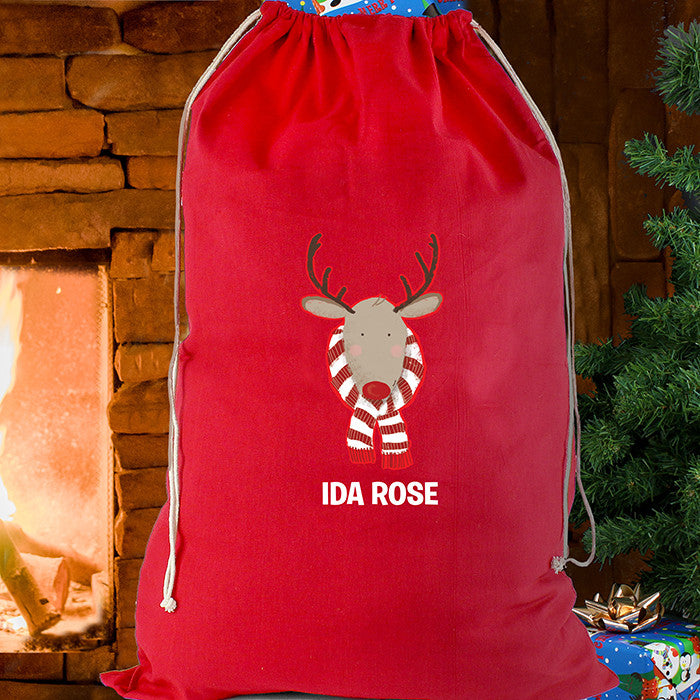Personalised Christmas Sack - Red Cotton - Retro Reindeer - Personalised Gift Solutions - 2
