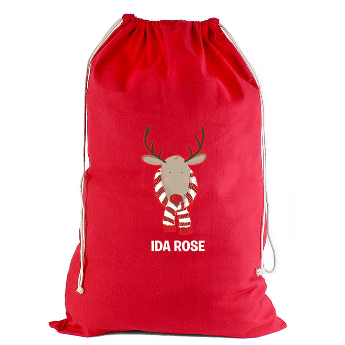 Personalised Christmas Sack - Red Cotton - Retro Reindeer - Personalised Gift Solutions - 3