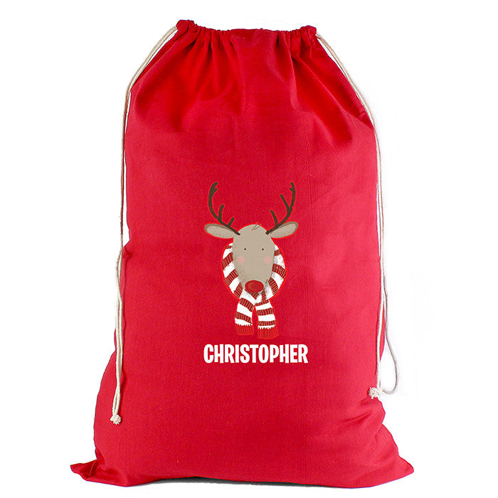 Personalised Christmas Sack - Red Cotton - Retro Reindeer - Personalised Gift Solutions - 4