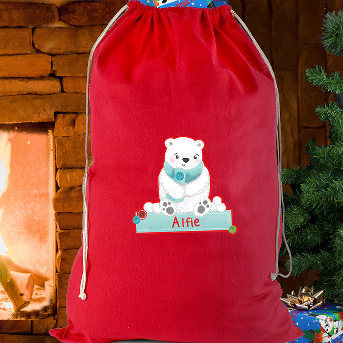 Personalised Christmas Sack - Red Cotton - Polar Bear - Personalised Gift Solutions - 1