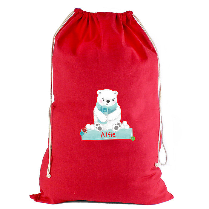 Personalised Christmas Sack - Red Cotton - Polar Bear - Personalised Gift Solutions - 3
