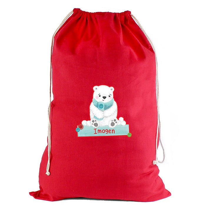 Personalised Christmas Sack - Red Cotton - Polar Bear - Personalised Gift Solutions - 4