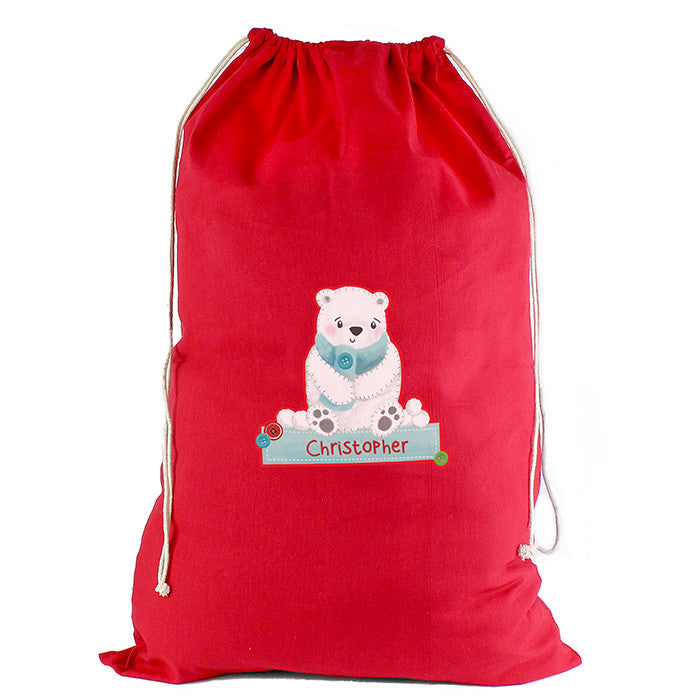 Personalised Christmas Sack - Red Cotton - Polar Bear - Personalised Gift Solutions - 5