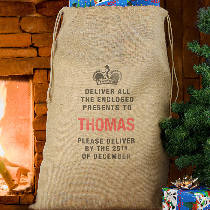 Personalised Christmas Sack - Hessian - Deliver Presents To... - Personalised Gift Solutions - 1