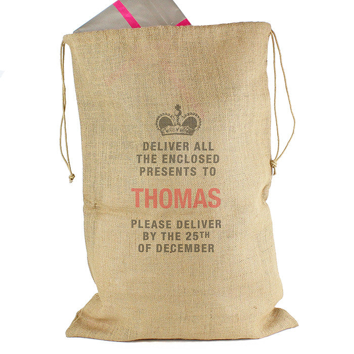 Personalised Christmas Sack - Hessian - Deliver Presents To... - Personalised Gift Solutions - 3