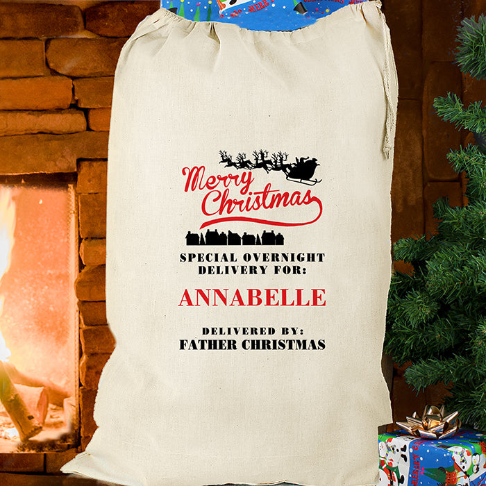Personalised Christmas Sack - Cream Cotton - Merry Christmas