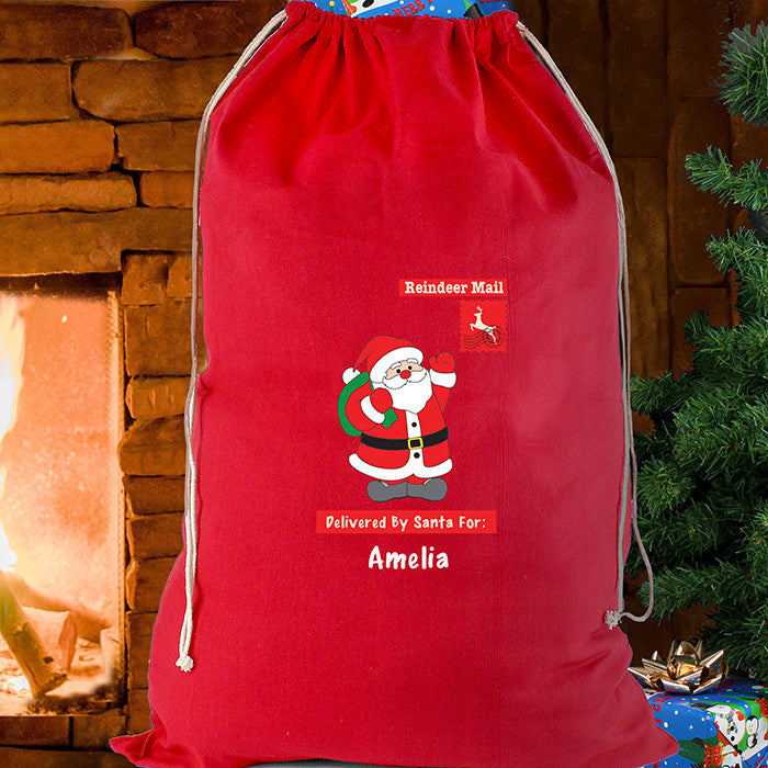 Personalised Christmas Sack - Red Cotton - Father Christmas - Personalised Gift Solutions - 2