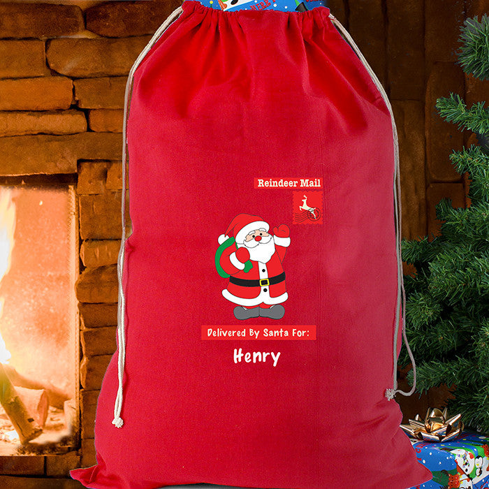 Personalised Christmas Sack - Red Cotton - Father Christmas - Personalised Gift Solutions - 1