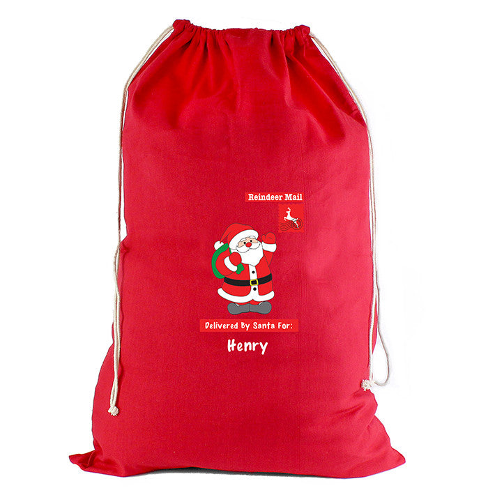 Personalised Christmas Sack - Red Cotton - Father Christmas - Personalised Gift Solutions - 3