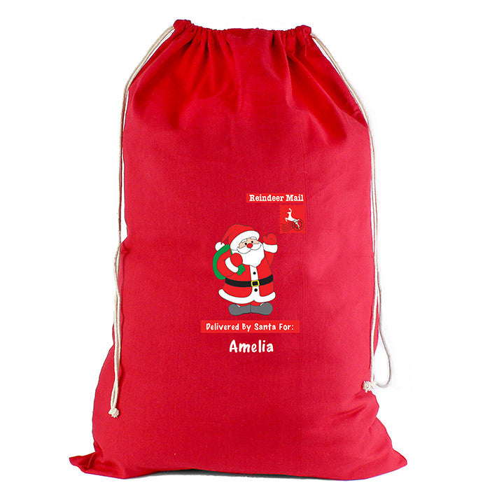 Personalised Christmas Sack - Red Cotton - Father Christmas - Personalised Gift Solutions - 4