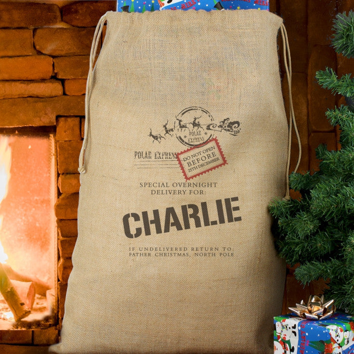 Personalised Christmas Sack - Hessian - Special Delivery - Personalised Gift Solutions - 1