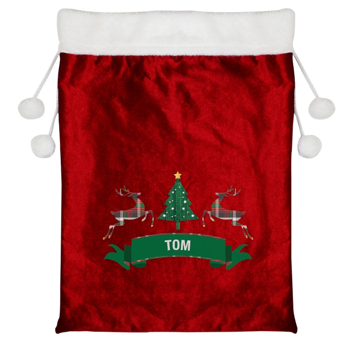 Personalised Luxury Christmas Sack - Tartan Reindeer