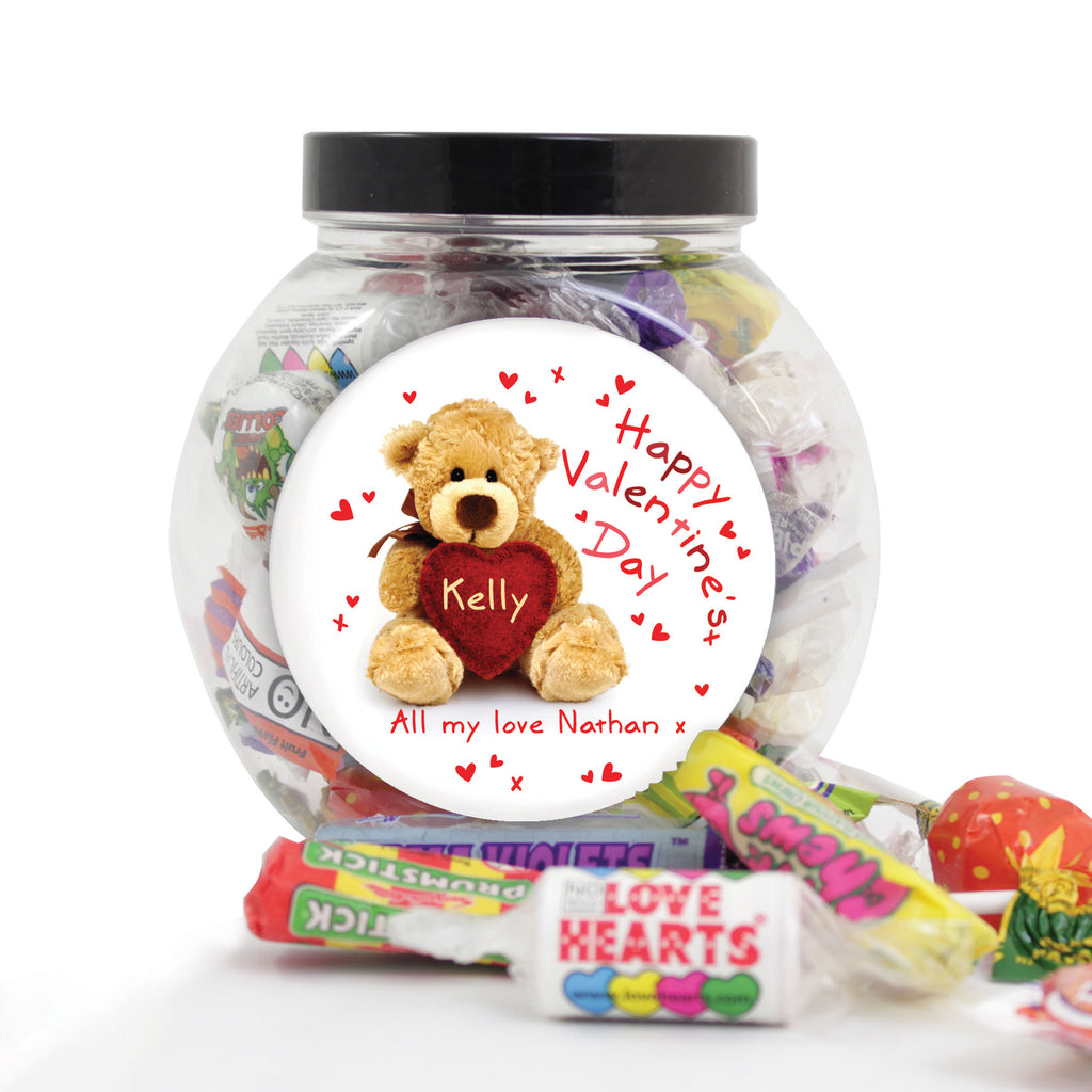 Personalised 'Teddy Heart' Valentines Sweet Jar - Personalised Gift Solutions - 1