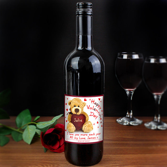 Personalised 'Teddy Heart' Valentines Red Wine