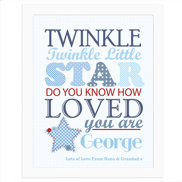 Personalised Twinkle Boys Poster White Frame - Personalised Gift Solutions - 1