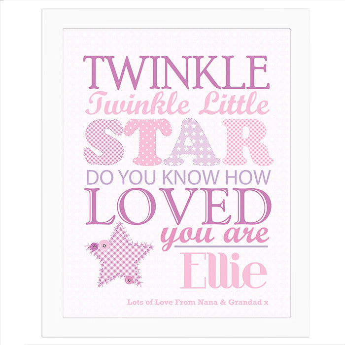 Personalised Twinkle Girls Poster White Frame - Personalised Gift Solutions - 1