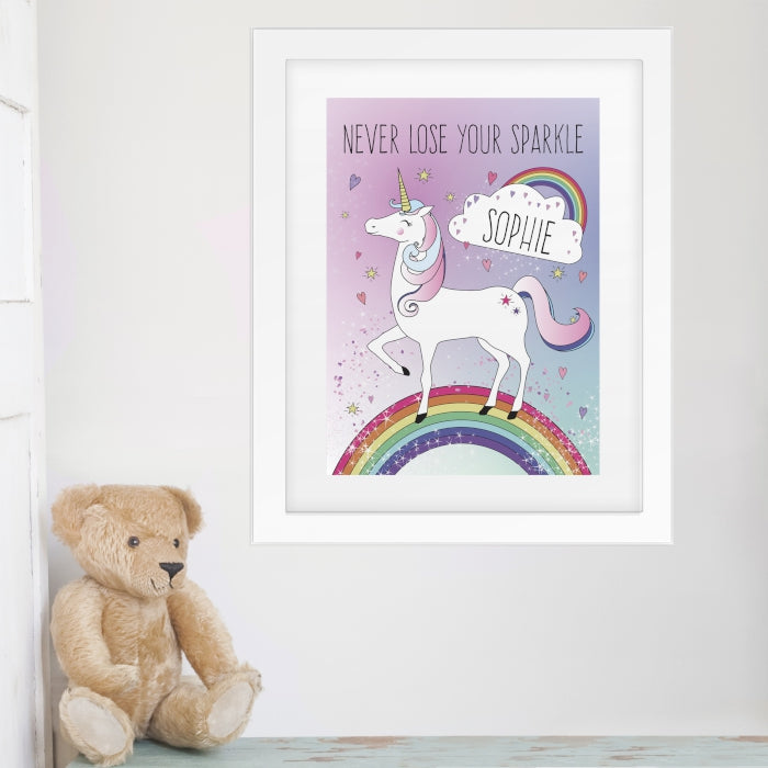 Personalised Unicorn Poster White Frame