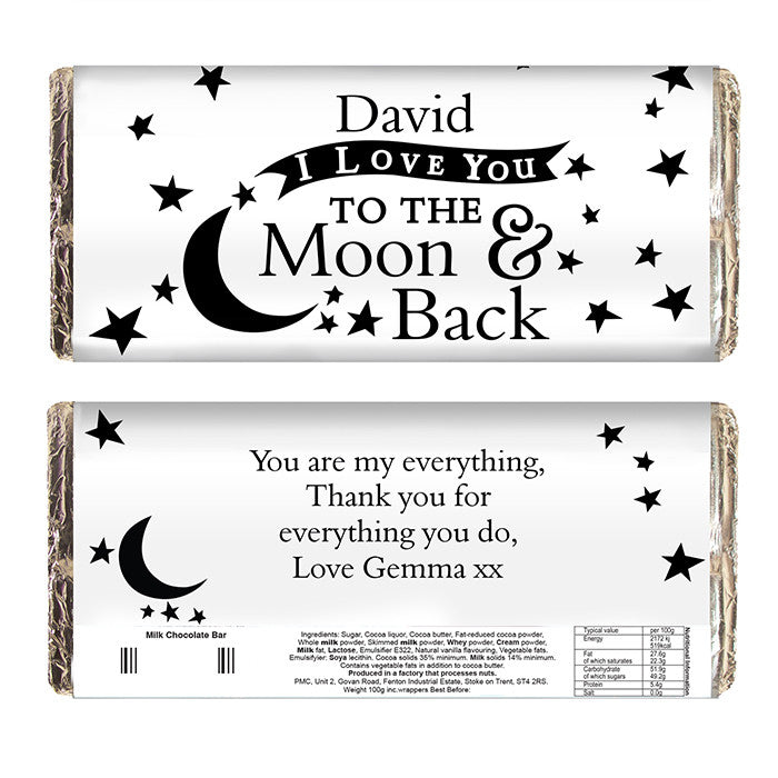Personalised 'To the Moon and Back' Chocolate Bar - Personalised Gift Solutions - 2