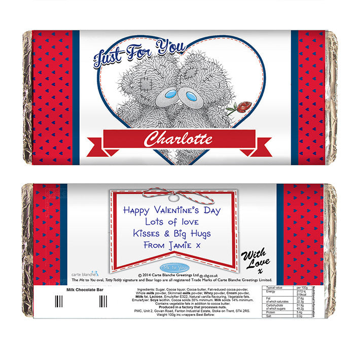 Personalised 'Me to You' Couple Valentines Chocolate Bar - Personalised Gift Solutions - 2