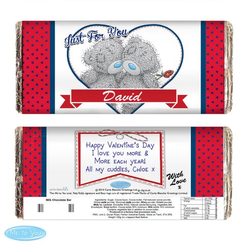 Personalised 'Me to You' Couple Valentines Chocolate Bar