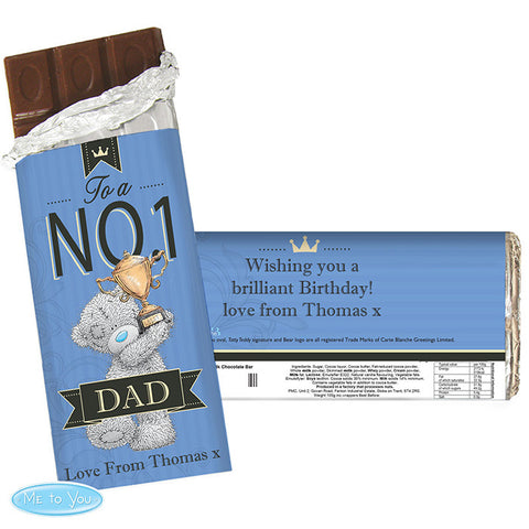 Personalised 'Me To You' No 1 Chocolate Bar For Him