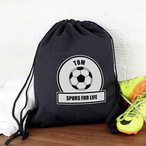 Personalised White Football Fan Boys Kit Bag