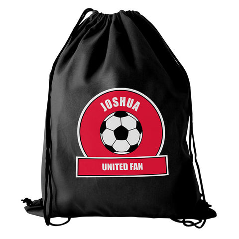 Personalised Red Football Fan Boys Kit Bag