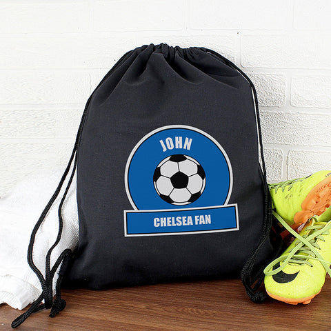 Personalised Blue Football Fan Boys Kit Bag
