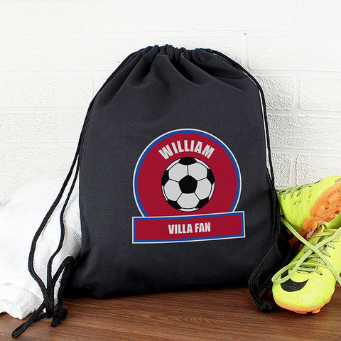 Personalised Claret & Blue Football Fan Boys Kit Bag