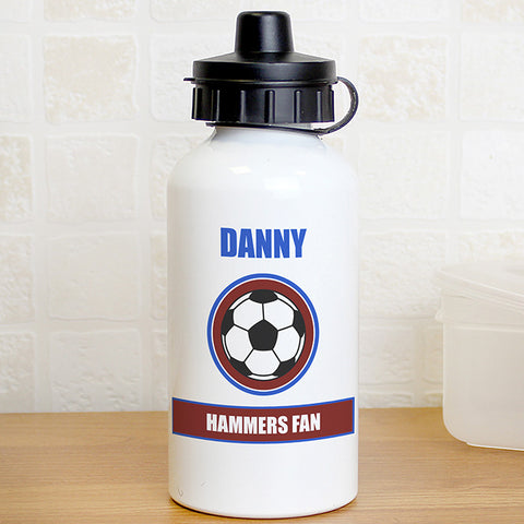 Personalised Claret & Blue Football Fan Drinks Bottle