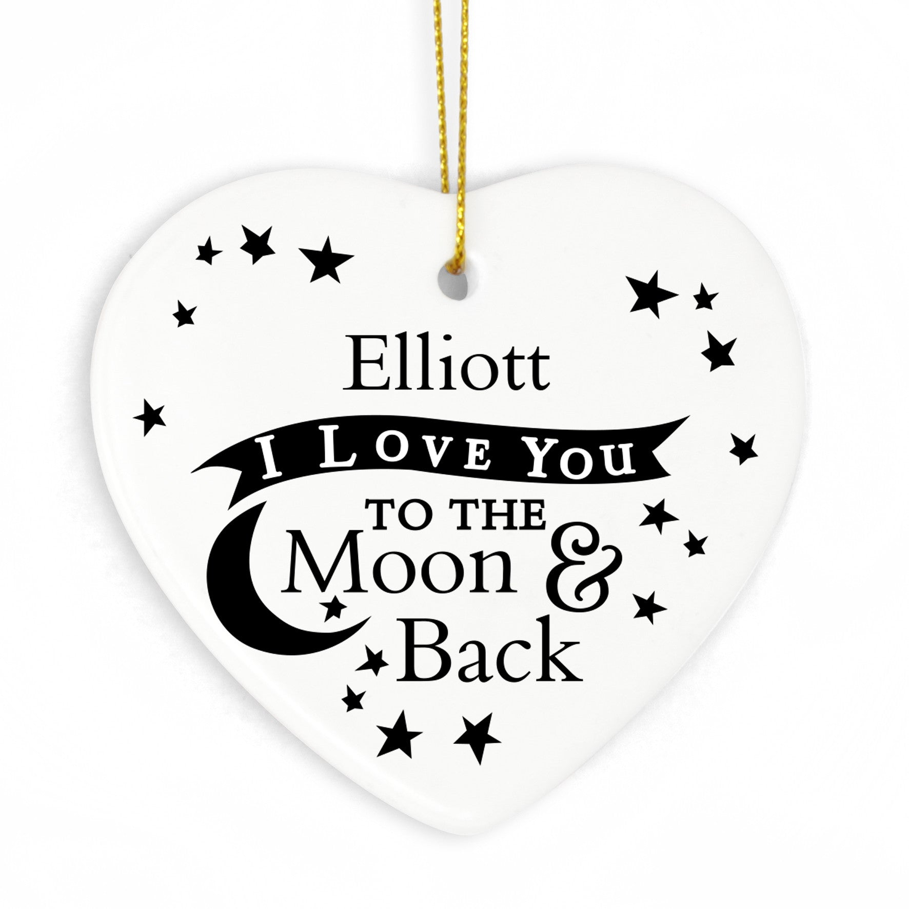 Personalised 'To the Moon and Back' Valentines Ceramic Heart - Personalised Gift Solutions - 1