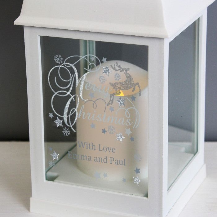 Personalised Christmas LED Lantern - White