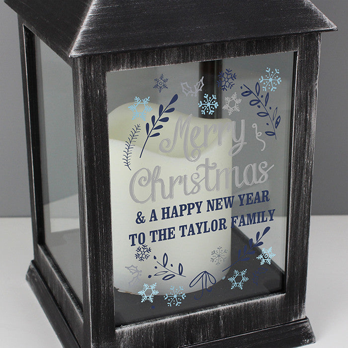 Personalised Christmas LED Lantern - Rustic Black
