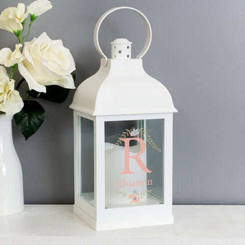Personalised LED Lantern - Floral Bouquet White