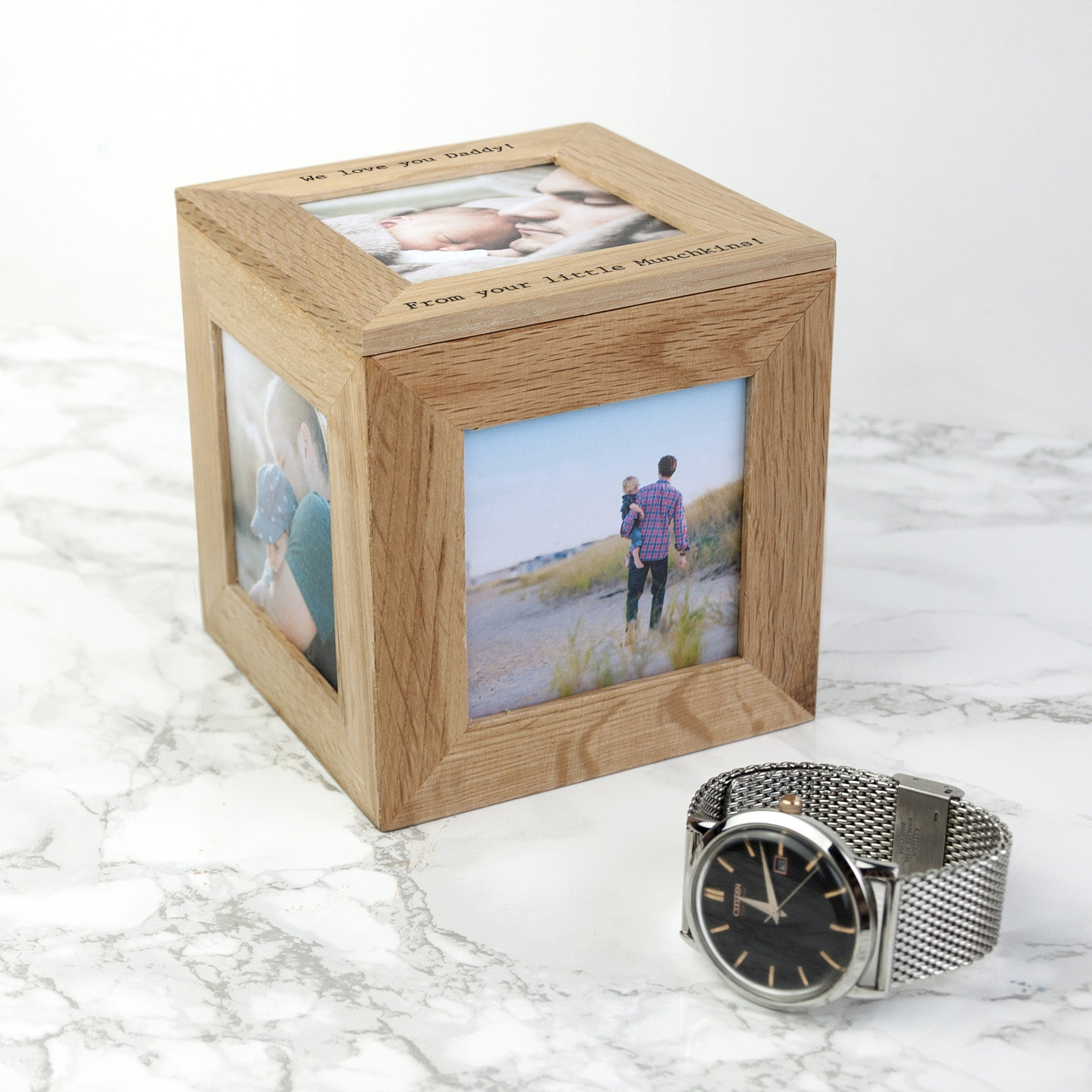 Personalised Memory Box - Small Wooden Photo Cube For Father's Day