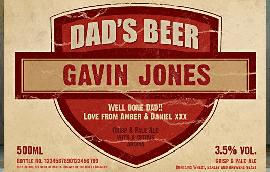 Personalised Beer 3 pack Dad's Beer Set label - Personalised Gift Solutions - 3