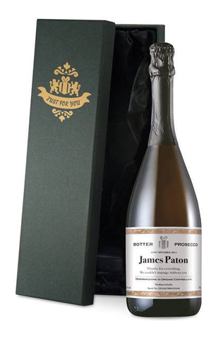 Personalised Prosecco with Classic White all Occasions Label