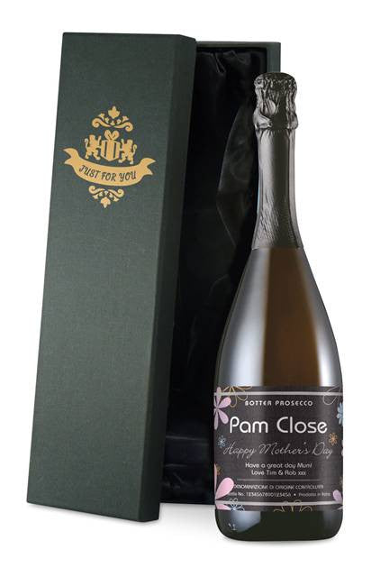 Personalised Mother's Day Prosecco Flowers Label