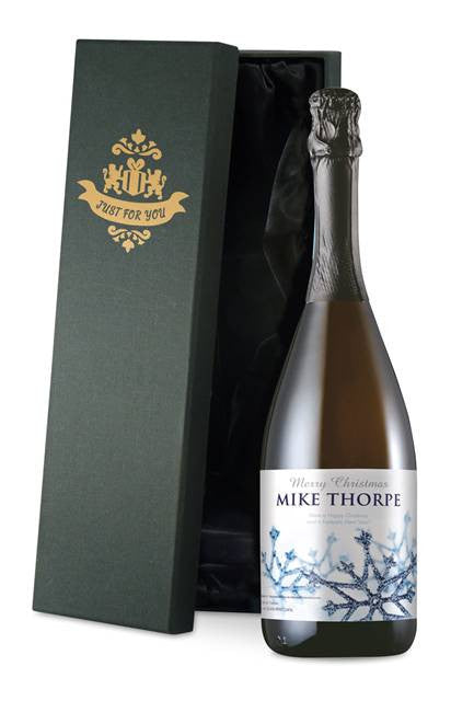 Personalised Christmas Prosecco with Snowflakes Label