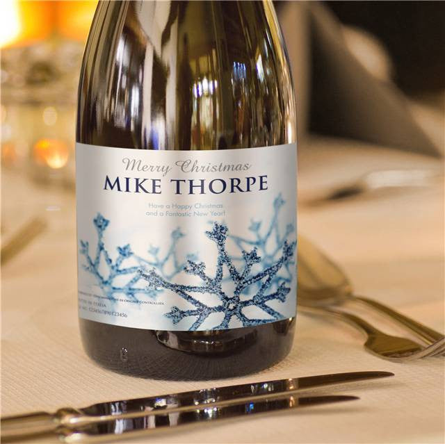 Personalised Christmas Prosecco with Snowflakes Label - Personalised Gift Solutions - 4