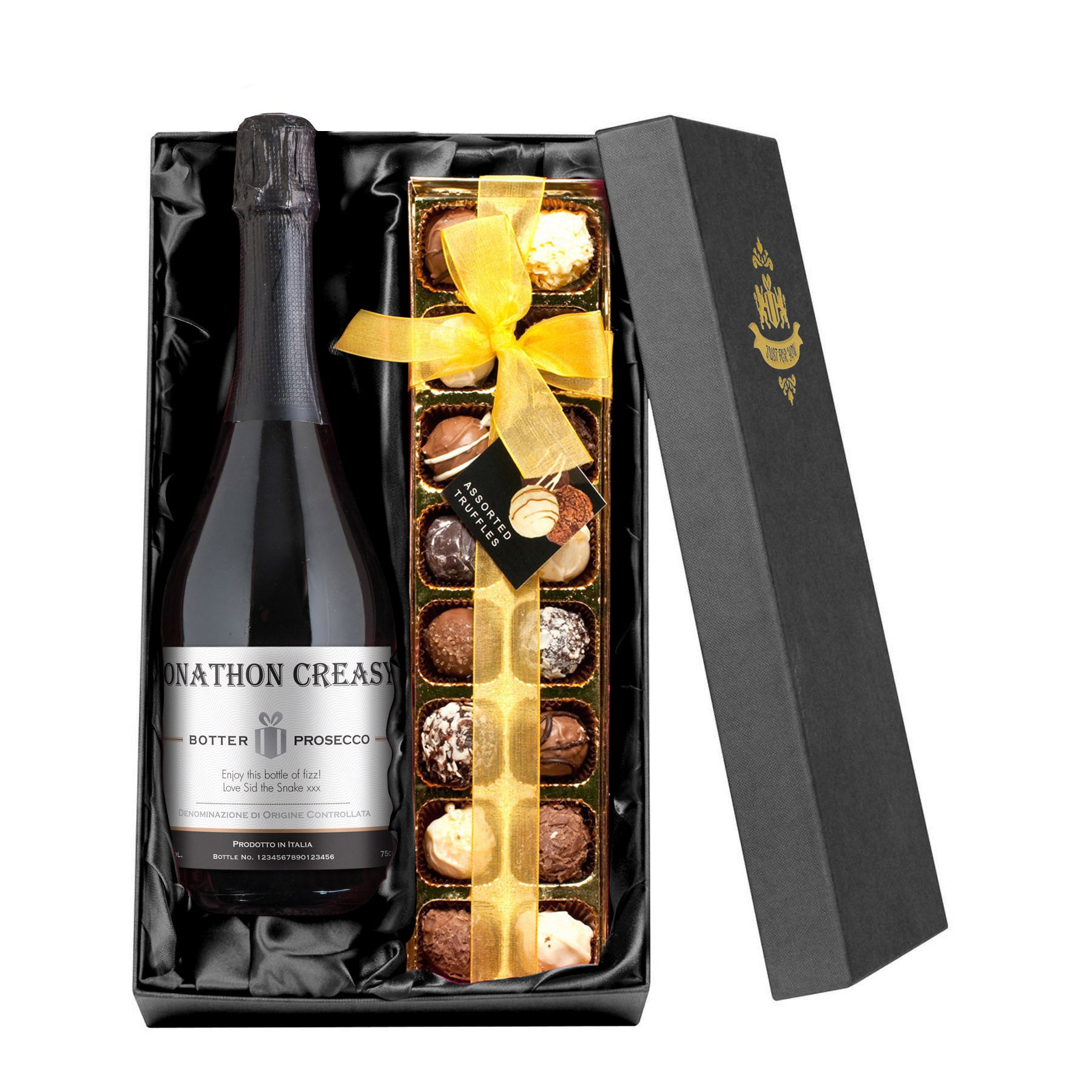 "The PGB Exclusive ""Tantalising"" Gift Set of Prosecco, Chocolate Truffles & Unique Decade Recipe Book"