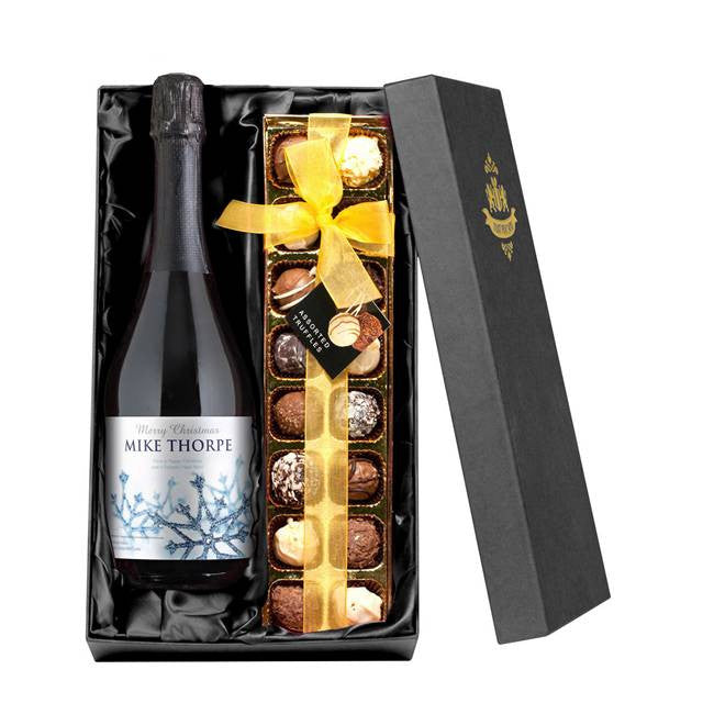 Personalised Christmas Prosecco with Chocolates Gift Pack