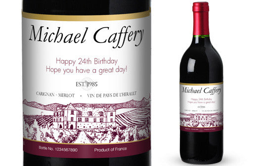 Personalised Red Wine & Glasses Giftpack for Birthdays - Personalised Gift Solutions - 2