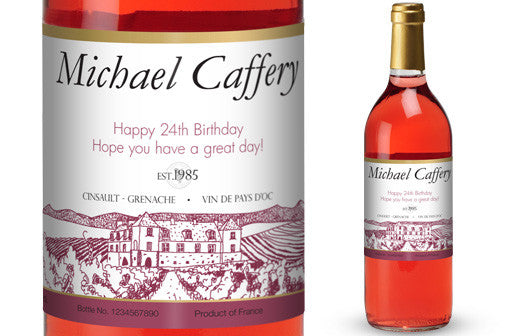 Personalised Rose Wine & Glasses Giftpack for Birthdays - Personalised Gift Solutions - 2