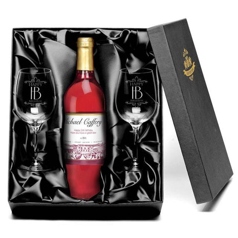 Personalised Rose Wine & Glasses Giftpack for Birthdays